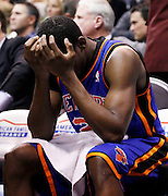New York Knicks guard Toney Douglas reacts during final seconds of the second half of an NBA basketball game against the Utah Jazz in Salt Lake City, Wednesday Jan. 12, 2011. The Jazz defeated the Knicks 131-125. (AP Photo/Colin E Braley)