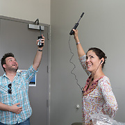 NOVEMBER , 2017&ndash;SAN JUAN, PUERTO RICO&mdash;<br /> NAHJ member Rafael Mejia hands out satellite phones to journalists from the Centro de Periodismo Investigativo de Puerto Rico in an effort to help local journalists  better cover their communities. Carla Minet receives a phone and a quick start guide. Omaya Sosa Pascual in photo with Rafael.<br /> (Photo by Angel Valentin)
