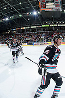KELOWNA, CANADA - OCTOBER 24: Kole Lind #16 and Gordie Ballhorn #4 of Kelowna Rockets skate to the bench to celebrate a goal against the Calgary Hitmen on October 24, 2015 at Prospera Place in Kelowna, British Columbia, Canada.  (Photo by Marissa Baecker/Shoot the Breeze)  *** Local Caption *** Kole Lind; Gordie Ballhorn;