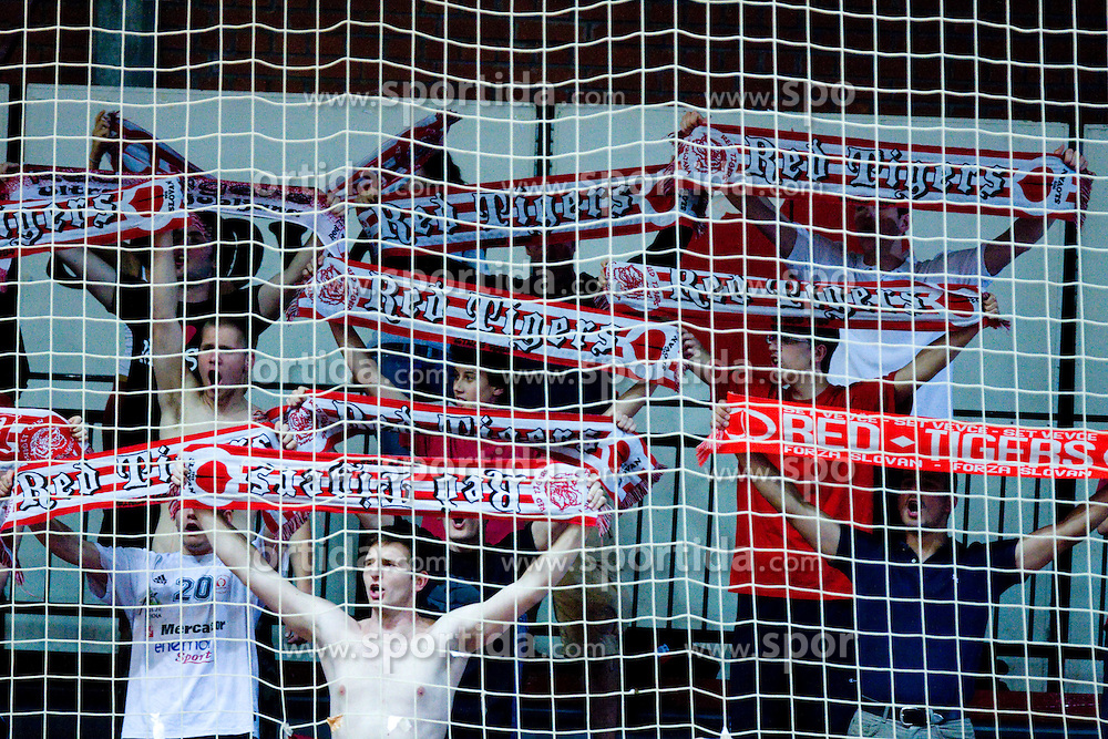 Red Tigers, fans of Slovan at handball match of MIK 1st Men league between RD Slovan and RK Gorenje Velenje, on May 16, 2009, in Arena Kodeljevo, Ljubljana, Slovenia. Gorenje won 27:26. (Photo by Vid Ponikvar / Sportida)