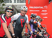 {Prudential RideLondonSurrey100. Martin Johnson at the start with the Trott family to the right.<br /> Prudential RideLondon, the world's greatest festival of cycling, involving 70,000+ cyclists – from Olympic champions to a free family fun ride - riding in five events over closed roads in London and Surrey over the weekend of 9th and 10th August. <br /> <br /> Photo: Roger Allen for Prudential RideLondon<br /> <br /> See www.PrudentialRideLondon.co.uk for more.<br /> <br /> For further information: Penny Dain 07799 170433<br /> pennyd@ridelondon.co.uk