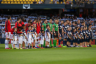 Both teams line up prior to kick off at the Hyundai A-League Round 6 soccer match between Melbourne Victory and Western Sydney Wanderers at Marvel Stadium in Melbourne.