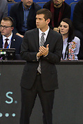 Boston Celtics head coach Brad Stevens during the NBA London Game match between Philadelphia 76ers and Boston Celtics at the O2 Arena, London, United Kingdom on 11 January 2018. Photo by Martin Cole.