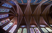 Our Lady of Chartres Cathedral, Chartres, France. Stained glass windows and vaulting of the nave as seen from below.