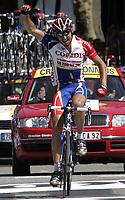 CYCLING - TOUR DE FRANCE 2004 - STAGE 11 - SAINT FLOUR > FIGEAC - 15/07/2004 - PHOTO : NICO VEREECKEN /DIGITALSPORT    <br /> DAVID MONCOUTIE (FRA) / COFIDIS - WINNER