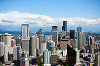 View from Space Needle, Southeast to Financial district of Seattle
