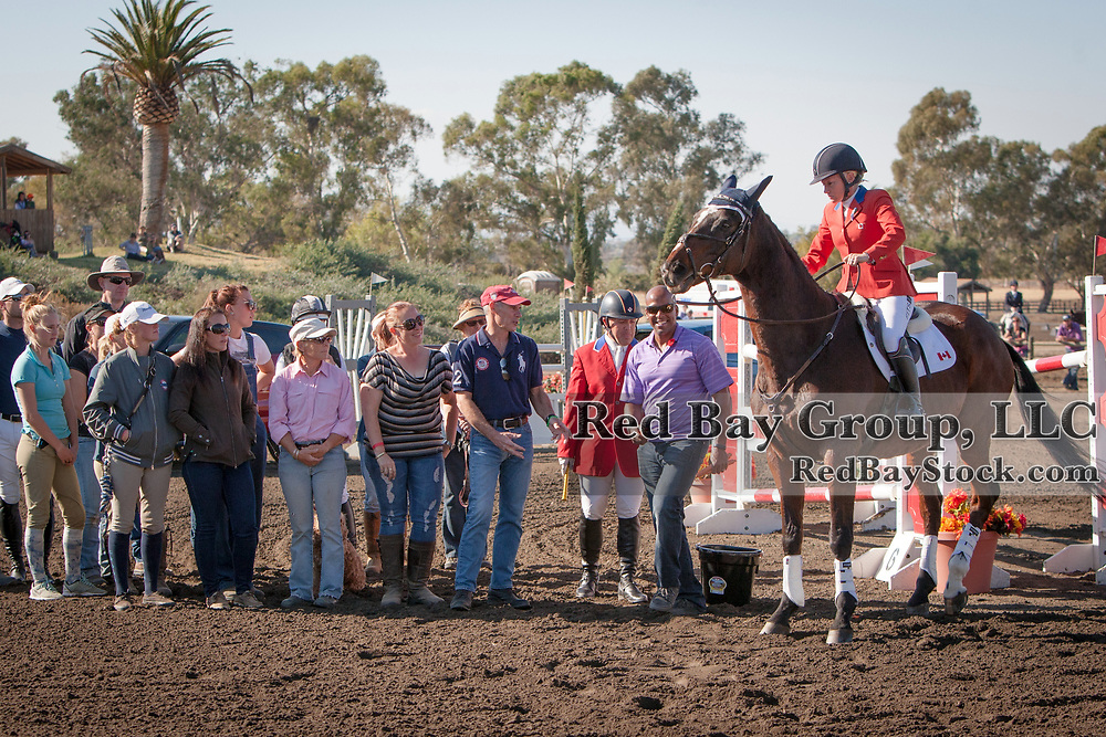 Hawley Bennett-Awad with her long time mount Livingstone and surrounded by friends and family. The horse was officially retired at the Galway Downs International Three Day Event in Temecula, California.
