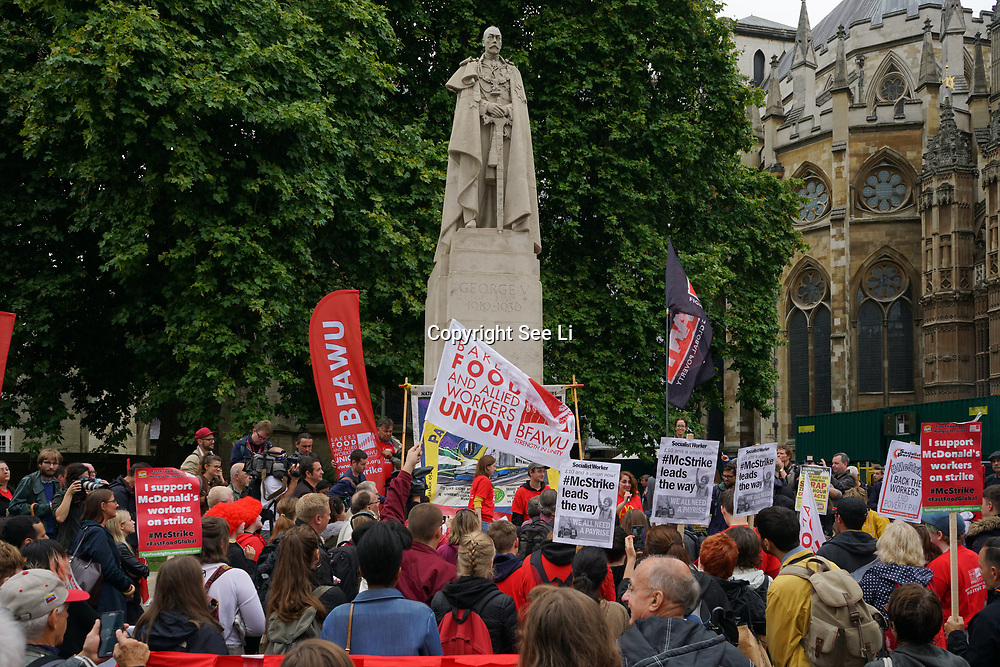 London, England, UK. 4th September 2017. McD Strike UK 2017 demand MacDonald a minmum wages of £10 an hour and no to zero hours at the Parliament yard.