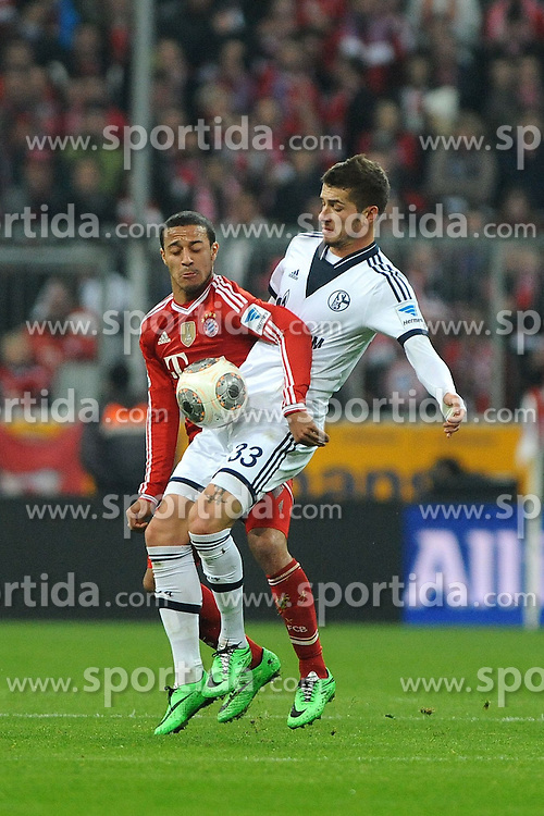 01.03.2014, Allianz Arena, Muenchen, GER, 1. FBL, FC Bayern Muenchen vs Schalke 04, 23. Runde, im Bild vl Thiago Alcantara (FC Bayern Muenchen) gegen Jan Kirchhoff (Schalke 04) // during the German Bundesliga 23th round match between FC Bayern Munich and Schalke 04 at the Allianz Arena in Muenchen, Germany on 2014/03/01. EXPA Pictures &copy; 2014, PhotoCredit: EXPA/ Eibner-Pressefoto/ Stuetzle<br /> <br /> *****ATTENTION - OUT of GER*****