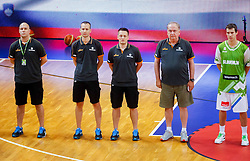 Coaches of Slovenia during friendly match between National teams of Slovenia and Ukraine for Eurobasket 2013 on July 26, 2013 in Dvorana Komunalnega centra, Domzale, Slovenia. Slovenia defeated Ukraine 74-46. (Photo by Vid Ponikvar / Sportida.com)