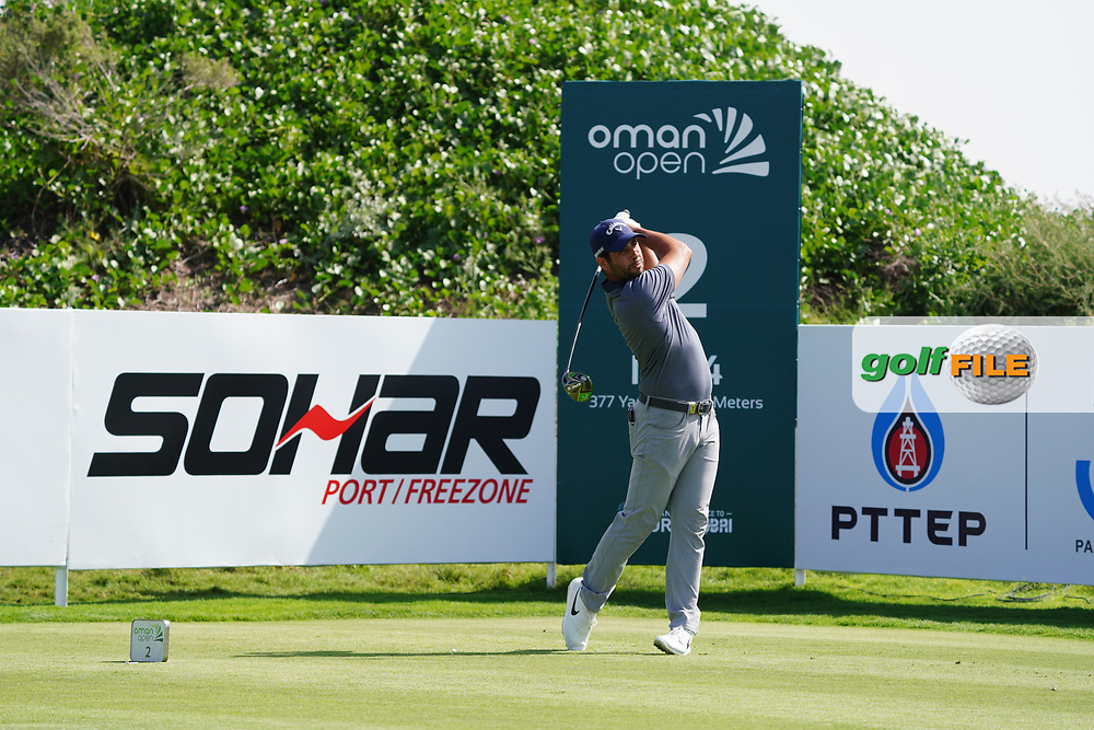 Adrian Otaegui (ESP) on the 2nd during Round 2 of the Oman Open 2020 at the Al Mouj Golf Club, Muscat, Oman . 28/02/2020<br /> Picture: Golffile   Thos Caffrey<br /> <br /> <br /> All photo usage must carry mandatory copyright credit (© Golffile   Thos Caffrey)