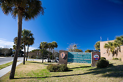 National Park Service welcome sign for Fort Moultrie, part of the Forth Sumter National Monument, Sullivan's Island, South Carolina, United States of America.