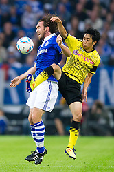 23.07.2011, Veltins arena, Gelsenkirchen, GER, Supercup, FC Schalke 04 vs. Borussia Dortmund, im Bild Zweikampf Christian Fuchs (#23 Schalke) - Shinji Kagawa (#23 Dortmund) // during the match FC Schalke 04 vs. Borussia Dortmund at Veltins arena 2011/07/23    EXPA Pictures © 2011, PhotoCredit: EXPA/ nph/  Kurth       ****** out of GER / CRO  / BEL ******