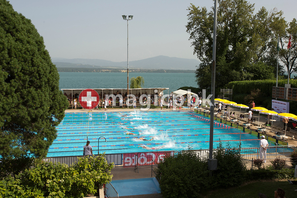 Swimmers compete during the Swiss Swimming Summer Championships held at the 50m outdoor pool Colovray in Nyon, Switzerland, Friday, June 29, 2012. (Photo by Patrick B. Kraemer / MAGICPBK)