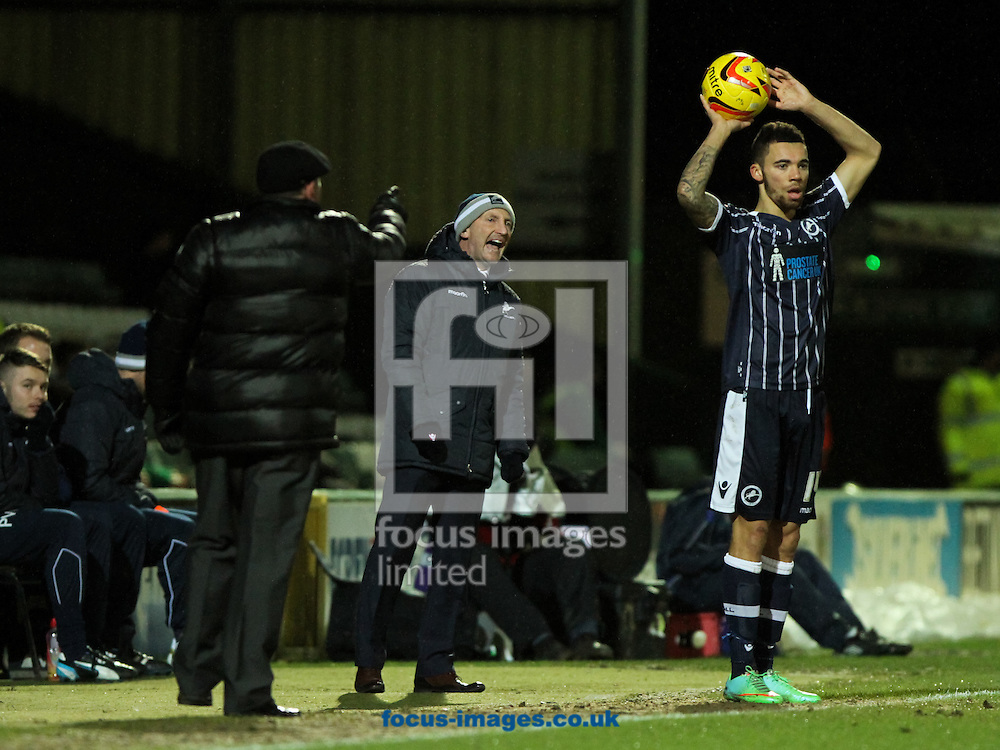 Yeovil Town manager Gary Johnson (left) and Millwall manager Ian Holloway (centre) both shout orders at their players during the Sky Bet Championship match at Huish Park, Yeovil<br /> Picture by Tom Smith/Focus Images Ltd 07545141164<br /> 11/02/2014