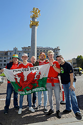 TBILSI, GEORGIA - Friday, October 6, 2017: Wales supporters in Liberty Square in Tbilisi ahead of the 2018 FIFA World Cup Qualifying Group D match between Georgia and Wales. (Pic by David Rawcliffe/Propaganda)