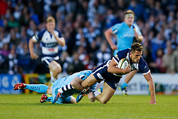 Bristol Rugby Full Back Jack Wallace is tackled by Worcester Fly-Half Ryan Lamb - Photo mandatory by-line: Rogan Thomson/JMP - 07966 386802 - 20/05/2015 - SPORT - Rugby Union - Bristol, England - Ashton Gate Stadium - Bristol Rugby v Worcester Warriors - Greene King IPA Championship Play-Off Final 1st Leg.