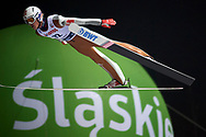 Poland, Wisla Malinka - 2017 November 18: Daniel Andre Tande from Norway soars through the air during FIS Ski Jumping World Cup Wisla 2017/2018 - Day 1 at jumping hill of Adam Malysz on November 18, 2017 in Wisla Malinka, Poland.<br /> <br /> Mandatory credit:<br /> Photo by © Adam Nurkiewicz<br /> <br /> Adam Nurkiewicz declares that he has no rights to the image of people at the photographs of his authorship.<br /> <br /> Picture also available in RAW (NEF) or TIFF format on special request.<br /> <br /> Any editorial, commercial or promotional use requires written permission from the author of image.