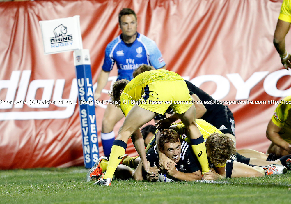 14 February 2015:  Joe Webber (10) of New Zealand All Blacks during the quarter finals cup of the USA Sevens Rugby Tournament between Australia and New Zealand at the HSBC Sevens World Series in Las Vegas, Nevada.  New Zealand would defeat Australia 28-7.