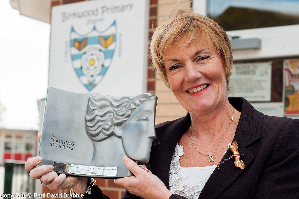 Julie Allen head teacher Birkwood Primary School, Cudworth who has won Head Teacher of the Year for the North East of England 2013 <br /> <br /> 22 May 2013<br /> Image © Paul David Drabble<br /> www.pauldaviddrabble.co.uk