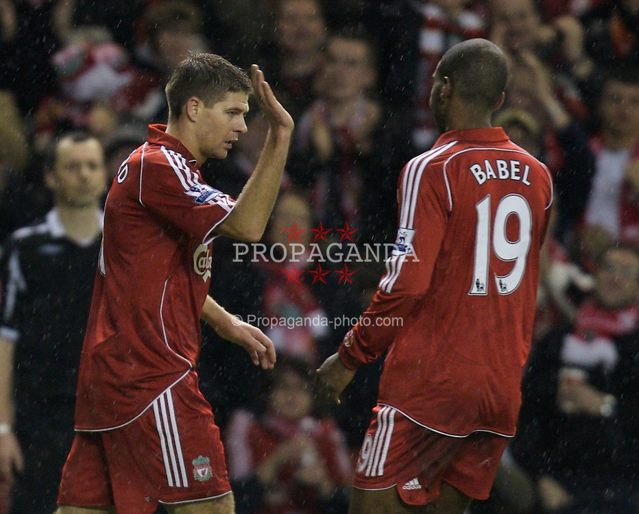 LIVERPOOL, ENGLAND - Tuesday, January 15, 2008: Liverpool's captain Steven Gerrard MBE celebrates scoring his second goal, the Reds' fourth, against Luton Town with team-mate Ryan Babel during the FA Cup 3rd Round Replay at Anfield. (Photo by David Rawcliffe/Propaganda)