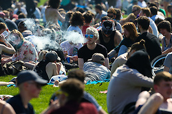Several thousand cannabis users and those who support them gather in Hyde Park, London for 420 Day a rally to highlight awareness of the plant and its benefits . London, April 20 2018.