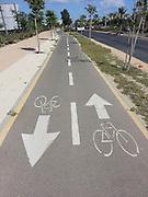 Bicycle lane. Photographed in Tel Aviv Israel