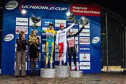 Podium overall: 1st Sanne Cant (BEL), 2nd Ellen van Loy (BEL) & 3rd Katherine Compton (NED), Women, Cyclo-cross World Cup Hoogerheide, The Netherlands, 25 January 2015, Photo by Thomas van Bracht / PelotonPhotos.com