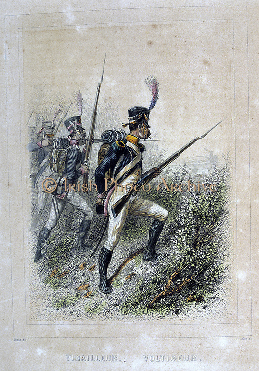 Light Infantry Skirmisher.  From 'Napoleon 1er et la Garde Imperiale' by Eugene Fieffe, Paris, 1858.