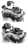 First model of Edison Phonograph (c.1877) in which the recording cylinder was rotated by hand. Top: Making recording. Bottom: Listening to recording. Engraving published Paris April 1878