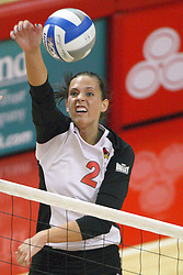 01 September 2012: LeighAnn Hranka attacks from outside right  during an NCAA womens volleyball match between the Oregon State Beavers and the Illinois State Redbirds at Redbird Arena in Normal IL
