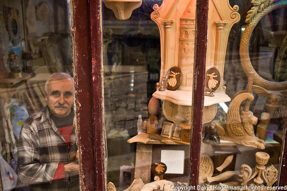 A wood carver in his Galata workshop, Istanbul, Turkey