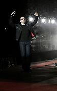 Lead singer Bono, U2 at the Millennium Stadium in Cardiff, June 29 2005.