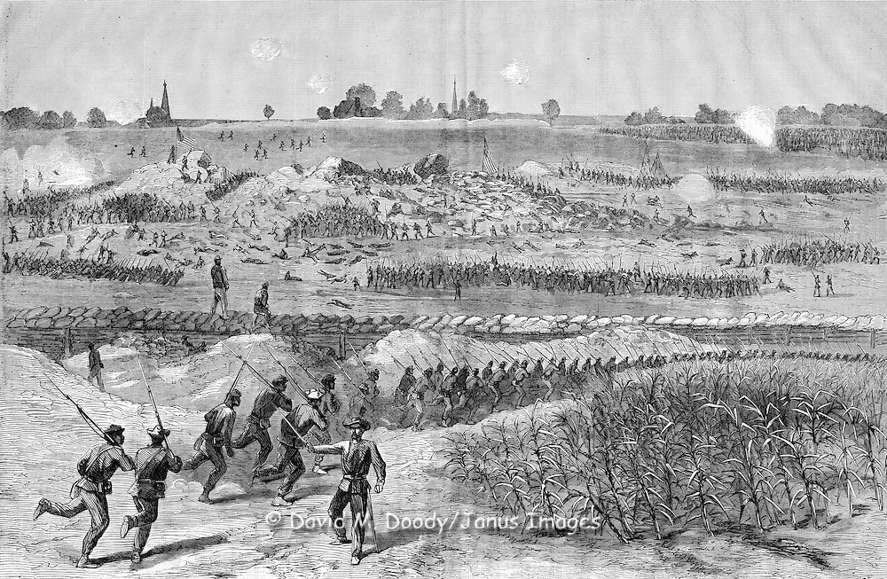 The charge of Union troops which followed the explosion of the mine in front of Petersburg, Virginia July 30, 1864 . This sketch gives also a more detailed outline of the scene of the exploded mine. The heights shown in the picture are those of Cemetery Ridge, and were the points aimed at by our troops. In the fore-ground is the crater formed in the rebel works by the explosion. Here it was that our soldiers were massed for further efforts, while in the mean time troops are hurrying up for support. This was the ground also of the flag of truce, and was literally covered with the fallen.