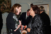 GLENDA BAILEY; SUZY MENKES, Glenda Bailey's Bazaar Greatest Hits book party. Savile Club. Brook St. London. 18 September 2011. <br /> <br />  , -DO NOT ARCHIVE-© Copyright Photograph by Dafydd Jones. 248 Clapham Rd. London SW9 0PZ. Tel 0207 820 0771. www.dafjones.com.