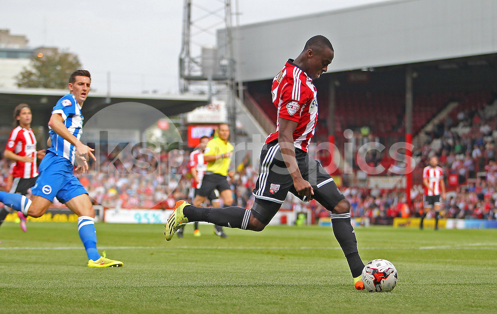 during the Sky Bet Championship match between Brentford FC and Brighton &amp; Hove Albion FC at Griffin Park on Saturday September 13th, 2014 <br /> <br /> <br /> Photo: Phil Duncan | UK Sports Pics Ltd<br /> Brentford vs Brighton &amp; Hove Albion FC <br /> Sky Bet Championship. 13/09/2014<br /> <br /> &copy; Phil Duncan | UK Sports Pics Ltd. <br /> Football League Licence No:  FL14/15/P5700. Football Conference Licence No: PCONF 051/14 Tel +44(0)7968 045353. email ken@uksportspics.co.uk, 7 Leslie Park Road, East Croydon, Surrey CR0 6TN. Credit UK Sports Pics Ltd