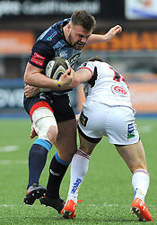 Scott Andrews of Cardiff Blues tries to get past Craig Gilroy of Ulster Rugby - Mandatory by-line: Nizaam Jones/JMP- 24/03/2018 - RUGBY - BT Sport Cardiff Arms Park- Cardiff, Wales - Cardiff Blues v Ulster Rugby - Guinness Pro 14