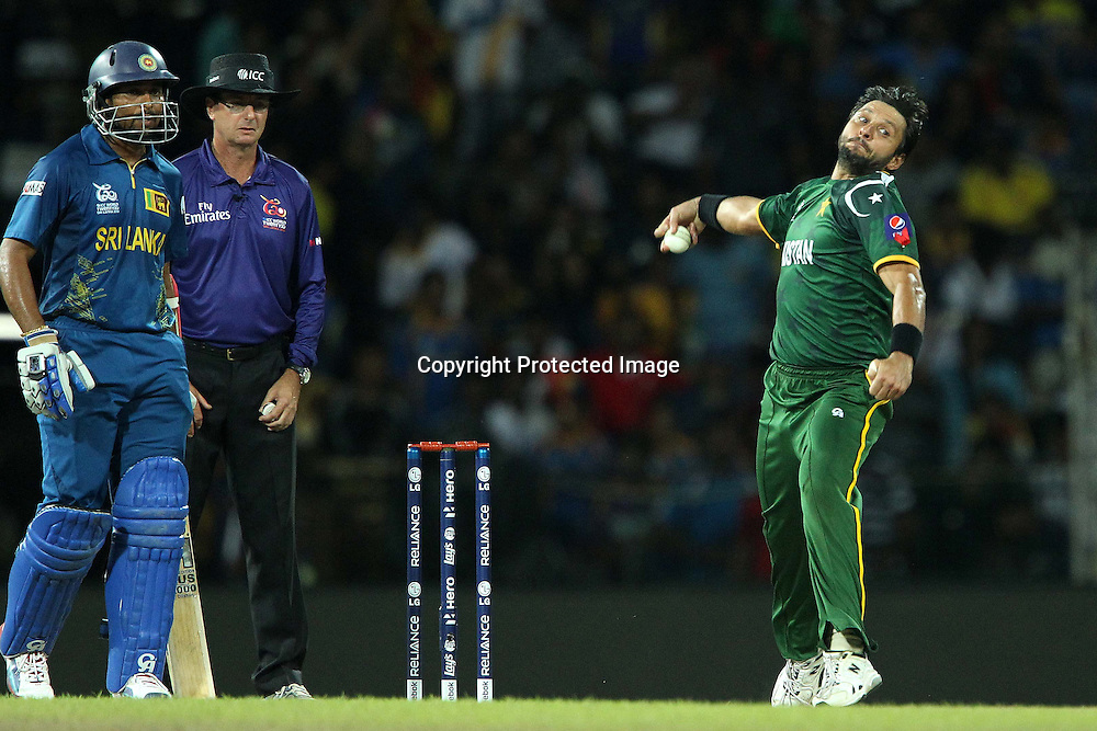 Shahid Afridi during the ICC World Twenty20 semi final match between Sri Lanka and Pakistan held at the Premadasa Stadium in Colombo, Sri Lanka on the 4th October 2012<br /> <br /> Photo by Ron Gaunt/SPORTZPICS