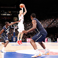 15 July 2012: Sergio Rodriguez of Team Spain takes a jumpshot during a pre-Olympic exhibition game won 75-70 by Spain over France, at the Palais Omnisports de Paris Bercy, in Paris, France.