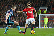 Daley Blind Midfielder of Manchester United takes on Middlesbrough Adam Forshaw during the Premier League match between Manchester United and Middlesbrough at Old Trafford, Manchester, England on 31 December 2016. Photo by Phil Duncan.