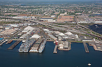 Clinton Street Terminal Maryland Port Administrationn shipping Terminal in Baltimore Maryland Aerial Image