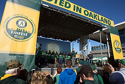 A's President David Kaval speaks to the crowd as they meet the 2018 team during Oakland Athletics FanFest at Jack London Square on Saturday, Jan. 27, 2018 in Oakland, Calif. (D. Ross Cameron/SF Chronicle)