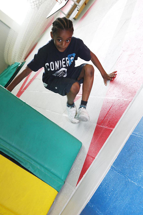 Parkour training at Academy Sport, off the Harrow Road..This pic: Dejante Tavernier, 8..Pictures by Jonathan Goldberg..