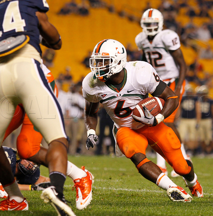 Miami Hurricanes running back Lamar Miller (6) scores in the fourth quarter. The University of Miami  vs The University of Pittsburgh Panthers at Heinz Field in Pittsburgh, PA, on Thursday, September 23, 2010.