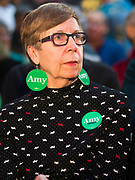 "01 FEBRUARY 2020 - DES MOINES, IOWA: RUTH SCHANKE. from Des Moines, wearing ""Amy Earrings"" before a campaign event for US Senator Amy Klobuchar. Sen. Klobuchar campaigned to support her candidacy for the US Presidency Saturday in Iowa. She is trying to capitalize on her recent uptick in national polls. Iowa holds the first selection event of the presidential election cycle. The Iowa Caucuses are Feb. 3, 2020.     PHOTO BY JACK KURTZ"