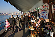 Istanbul. Galata Bridge across the Golden Horn (Halic?). Restaurants and cafe?s.