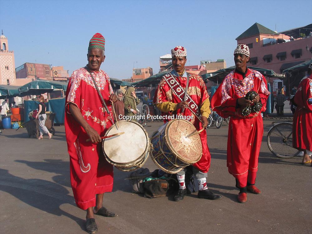 street musicians in Marakesh, Morocco