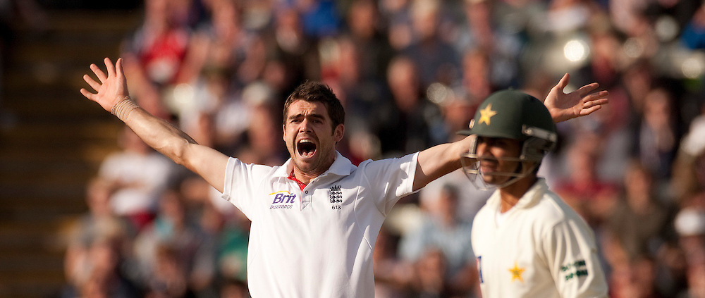 James Anderson appeals during the second npower Test Match between England and Pakistan at Edgbaston, Birmingham.  Photo: Graham Morris (Tel: +44(0)20 8969 4192 Email: sales@cricketpix.com) 07/08/10