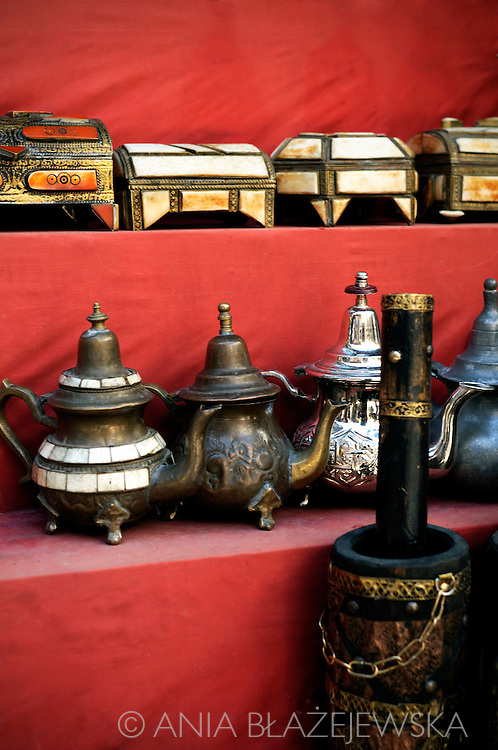 Morocco, Fez. Moroccan souvenirs from the shop in the souk.