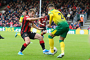 Ryan Fraser (24) of AFC Bournemouth battles for possession with Max Aarons (2) of Norwich City during the Premier League match between Bournemouth and Norwich City at the Vitality Stadium, Bournemouth, England on 19 October 2019.